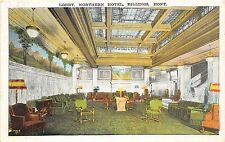 A24/ MONTANA Mt Postcard c1910 BILLINGS Northern Hotel INTERIOR Lobby