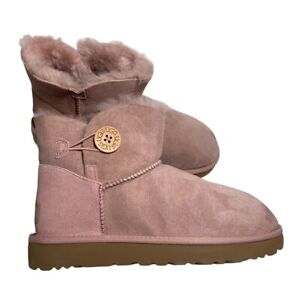 Women's UGG Mini Bailey Button II Boots- size 9 Pink Crystal New