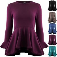 Womens Casual Peplum Ruffle Frill Long Sleeve Flared Ladies Knitted Skater Top