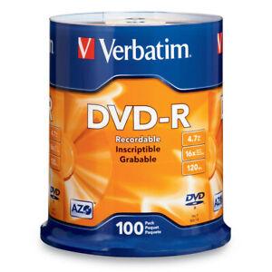 100 x Blank DVD Disc 4.7GB - Verbatim Branded DVD-R Discs