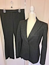 THEORY Wool Stretch Blend 2 Piece Jacket & Pant Suit Size 10 Gray Pinstripe EUC