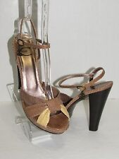 JUST CAVALLI Beige Yellow Snakeskin Leather Platform Heels Shoes SZ 39.5 / 9 US