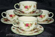 Royal Albert Old Country Roses Casual Classics 4 CUPS & SAUCERS Green Trim 1nick