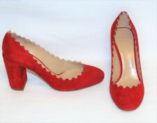 Chloé LAUREN Scalloped Red Suede Block Heels sz 9.5/EUR 40 NIB
