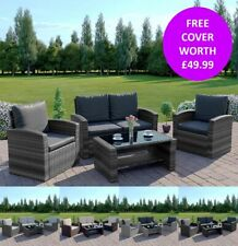 More details for rattan garden furniture conservatory sofa set 4 seat armchair table free cover