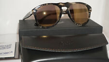 Persol Sunglasses New Spotted Grey Black Mirror Brown PO0649 1063O3 52 135