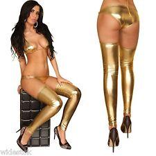 Free Size Gold Wet Look Footless Women Stocking Metallic Sexy Leggings Lingerie