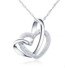 Sterling Silber Herz Anhänger mit Kette Halskette Herzkette Silberschmuck * Love