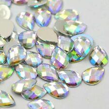 100X flat back acrylic Rhinestone Clear AB Teardrop Gem Crystal Eye Facet Bead