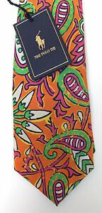Polo Ralph Lauren Paisley Silk Necktie Tie Made in Italy $125 Pink Blue Grn  NWT
