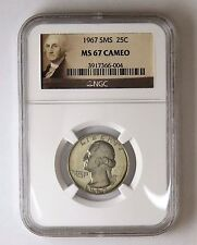 1967 SMS 25c Washington Quarter NGC MS 67 Cameo