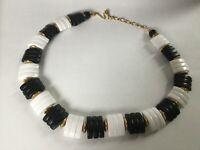 "Vintage 60's Long 16"" Lucite Bead Collar Necklace Black White"
