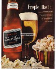 1963 Carling Black Label Beer Popcorn Vtg Print Ad