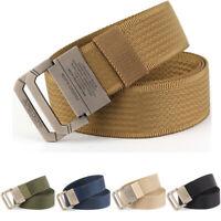 """1.5"""" Mens Nylon Webbing Belt Casual Sports Double Loop Buckle Trousers Belts 45"""""""