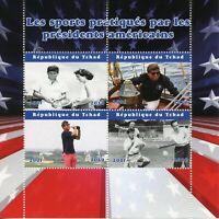 Chad JFK Stamps 2020 MNH John F Kennedy Golf Tennis Baseball Sports 4v M/S