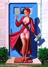 1940s Pin-Up Girl Caught in the Door Picture Poster Print Vintage Pin Up