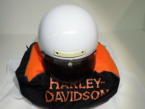 HARLEY DAVIDSON HALF HELMET WHITE ~ LARGE ~ GREAT CONDITION