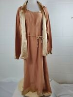 Vintage Stunning 1920s Inspired Kleen Peach Two Piece Silk Linen Dress Size 1X