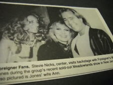 Stevie Nicks backstage w/ Mick Jones Foreigner and his wife 1985 promo pic/text