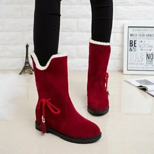 Womens Suede Round Toe Ankle Boots Winter Warm Snow Santa Claus Shoes Flats Size