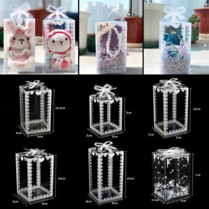 10Pcs Clear PVC Gift Box Cake Candy Packaging Transparent Boxes Wedding Favors