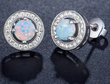 Vintage Round Fire Opal Halo Stud Earrings in 14k White Gold Plated Silver