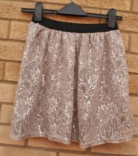 PRIMARK FLORAL SILVER GREY LACE SKATER FLIPPY A LINE PARTY PROM RARE SKIRT 12 M