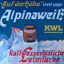 ALPINA WEIß Farbe = Großes Blechschild MAKELLOS Maler Matterhorn STARK GEPRÄGT