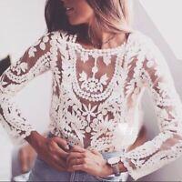 New Boho Lace Cotton Peasant Long Sleeve Vtg 70s Insp Blouse Top Women's MEDIUM