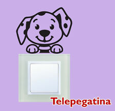Vinilo decorativo pegatina infantil interruptor enchufe pared perro 10 x 8,5 cm.