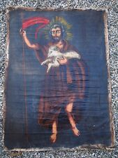 Brazilian Painting of Saint John The Baptist  43 x 33  Vintage Sacred Art