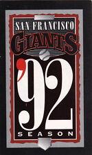 1992 SAN FRANCISCO GIANTS BASEBALL POCKET SCHEDULE