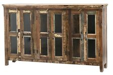 "71"" Renzo Sideboard Cabinet Distressed Wood Four Doors Brown Glass Panels"