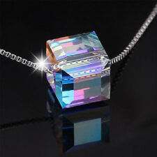 Silver Crystal Cube Necklace Chain Pendant-Xmas Jewellery Gifts For Wifes Women