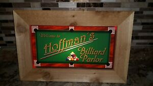 """""""Welcome To Hoffman Billiard Parlor"""" LIghted Bar / Pool Sign"""