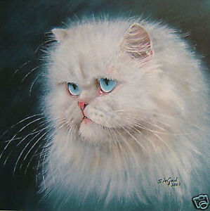 LIMITED EDITION WHITE PERSIAN CAT PAINTING PRINT FROM ORIGINAL  SUZANNE LE GOOD