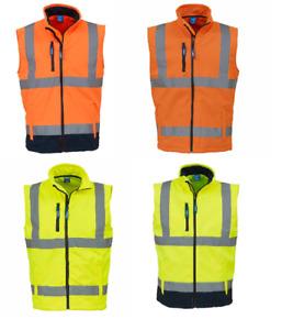 Yoko Men SoftShell Full Zip Gilet Jacket Hi-Viz Waterproof Visibility Bodywarmer