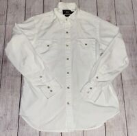 Men's Vintage Ralph Lauren RRL (M)White Pearl Snap Western Style Shirt Yoke