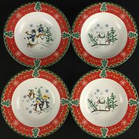 """Set of 4 VTG Rim Soup Bowls 8 1/4"""" Country Pals Montgomery Wards Christmas Trees"""