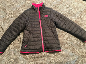 THE NORTH FACE Girl's Reversible Gray Pink Mossbud Swirl Jacket ~ Size S 7/8