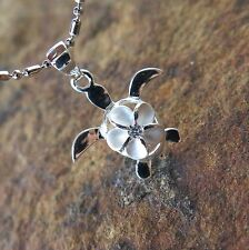 Genuine 925 Silver Clear CZ Hawaiian Plumeria Flower Turtle Pendant Necklace