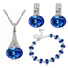 Elegant Royal Dark Blue Jewellery Set Earrings Bracelet Necklace Pendant S838
