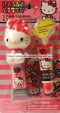HELLO KITTY by SANRIO 2pc INTERCHANGEABLE Lip Gloss+TOPPER NECKLACE Cherry+Grape
