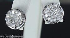 $6200 Men's Earrings 14K White Gold 2.00ct Diamond 14mm Studs Screw Back Cluster