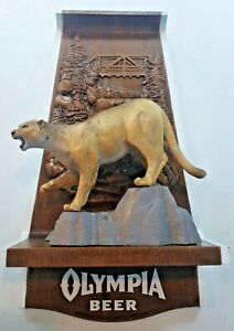 Vintage 1970's Olympia Beer Wildlife Series Cougar Mountain Lion Puma Sign