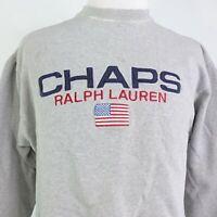 VTG CHAP Ralph Lauren LOGO DISTRESSED PULLOVER GRAY CREW NECK SWEATSHIRT SIZE M
