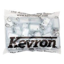 KEVRON KID-5 Bag Of 50 CLEAR Plastic Click Key Ring Tags-FREE POST- KID5CLR