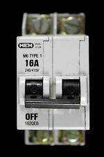 MEM 16 AMP TYPE 1 M6 DOUBLE POLE MCB CIRCUIT BREAKER 162QEB