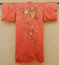 Antiguo Bordado Chino Kimono de seda oriental Tela 1920 Moda Craft (X329)
