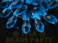 New 10pcs 16x8mm Teardrop Faceted Glass Pendant Loose Spacer Beads Lake Blue
